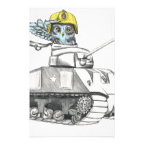 Tank Battle Owl Stationery