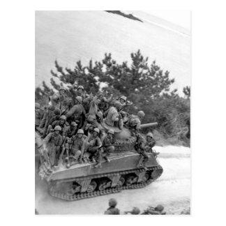 Tank-borne infantry moving up to take_War Image Postcard