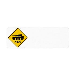 Tank Crossing Highway Sign Return Address Label