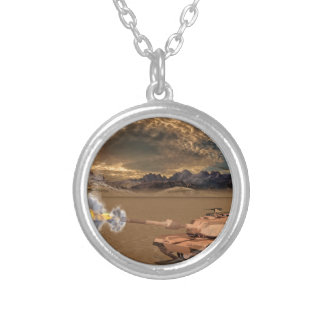 Tank Firing in the Desert Silver Plated Necklace
