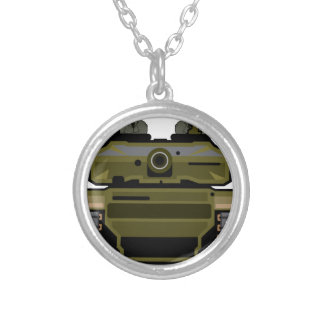 Tank Front Silver Plated Necklace