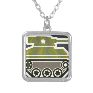 Tank Icon Silver Plated Necklace