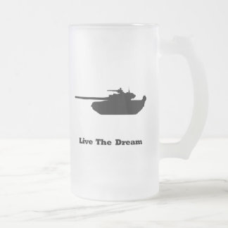 Tank Live The Dream Frosted Glass Beer Mug