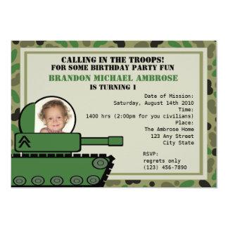 Tank Party Birthday/ Photo 5x7 Paper Invitation Card