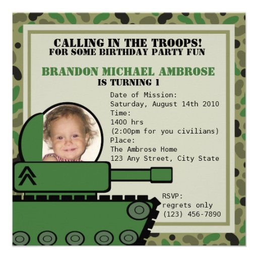 Tank Party Birthday/ Photo Personalized Announcement