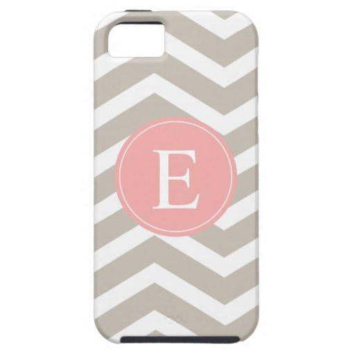 Tank Peach Pink Chevron Monogram iPhone 5 Covers