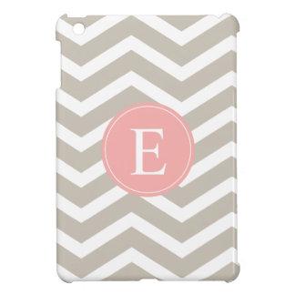 Tank Peach Pink Chevron Monogram iPad Mini Cover