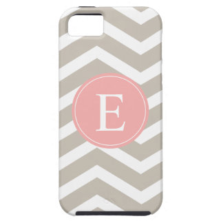 Tank Peach Pink Chevron Monogram iPhone SE/5/5s Case