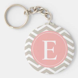 Tank Peach Pink Chevron Monogram Keychain