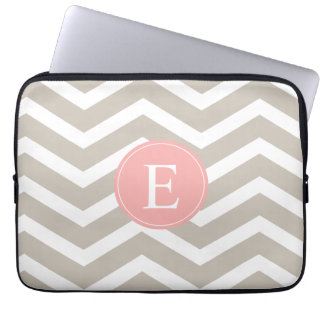 Tank Peach Pink Chevron Monogram Laptop Sleeve