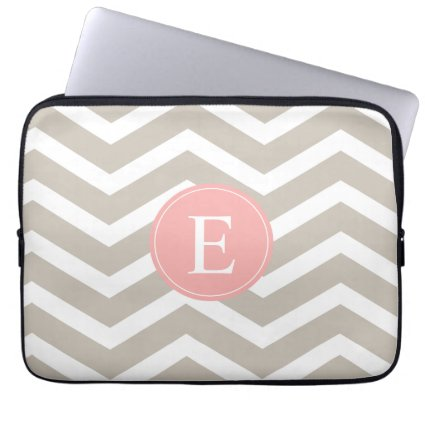 Tank Peach Pink Chevron Monogram Laptop Computer Sleeves