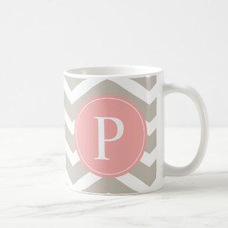 Tank Peach Pink Chevron Monogram Coffee Mug