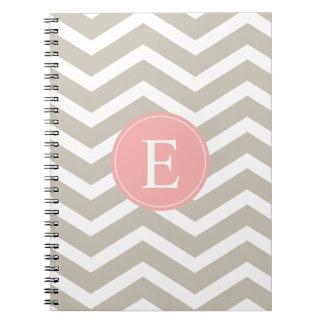 Tank Peach Pink Chevron Monogram Notebook