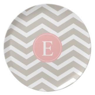 Tank Peach Pink Chevron Monogram Party Plates