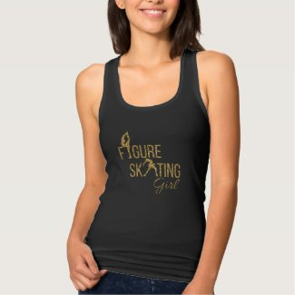 Tank Top Figure skating girl gold sparkle