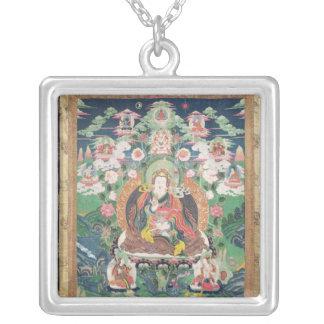Tanka of Padmasambhava, c.749 AD Square Pendant Necklace