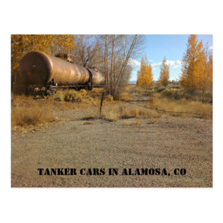 Tanker Cars stored on a track in Alamosa, CO. Postcard
