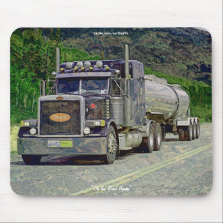 Tanker Truck Highway Driving Art Mousepad