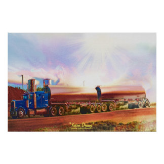 Tanker Truck Highway Driving Transport Art Poster