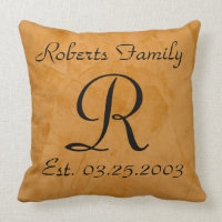 Tanned Faux Leather Monogram Anniversary Throw Pillow