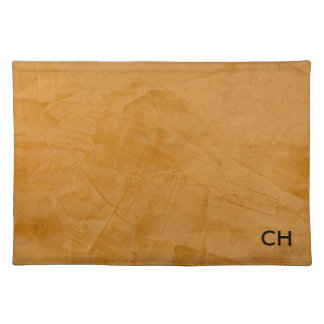 Tanned Leather Monogram Cloth Placemat