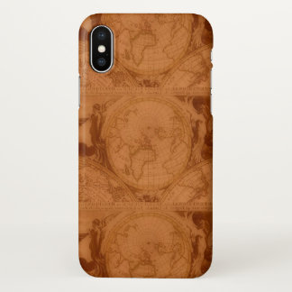 Tanned Leather Red Brown Old World Map iPhone X Case