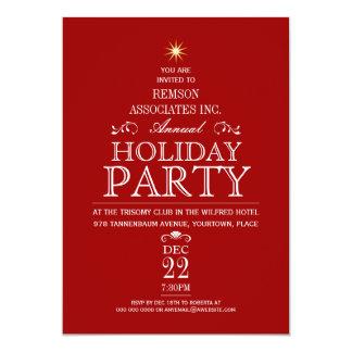 "Tannenbaum Typographic Crimson Holiday Party 5"" X 7"" Invitation Card"