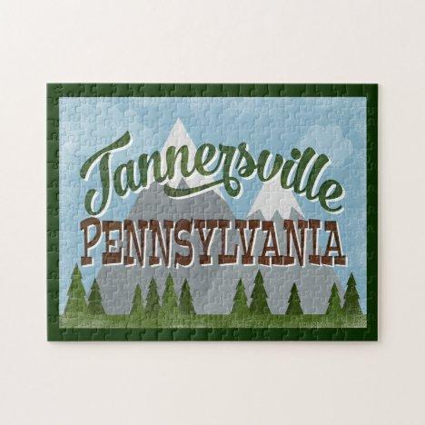 Tannersville Pennsylvania Fun Retro Mountains Jigsaw Puzzle