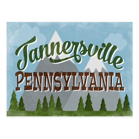 Tannersville Pennsylvania Fun Retro Mountains Postcard