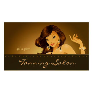 Tanning Business Card Double Gold Woman Dark