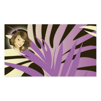 Tanning Business Card Purple Woman