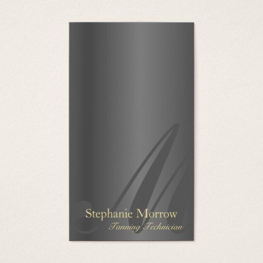Tanning Business Card Silver & Gold Monogram