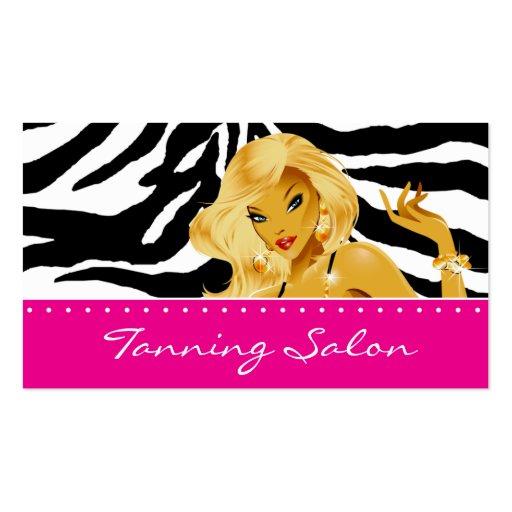 Tanning Business Card Zebra Woman Blonde Pink