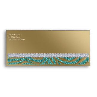 Tanning Gift Certificate Envelope Zebra Glitter