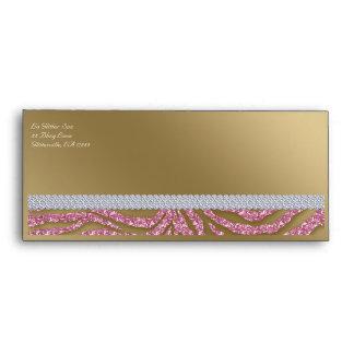 Tanning Gift Certificate Envelope Zebra Glitter Pk