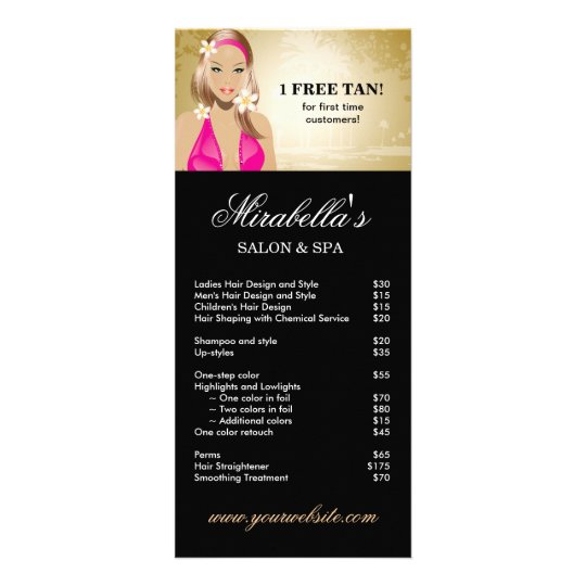 Tanning Rack Card Jewelry Salon Gold Black