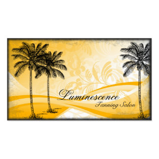 Tanning Salon Business Card Yellow Palm Tree
