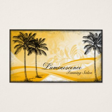 Professional Business Tanning Salon Business Card Yellow Palm Tree