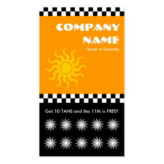 tanning salon checkers punchcard Double-Sided standard business cards (Pack of 100)