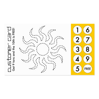 tanning salon cut out punch cards