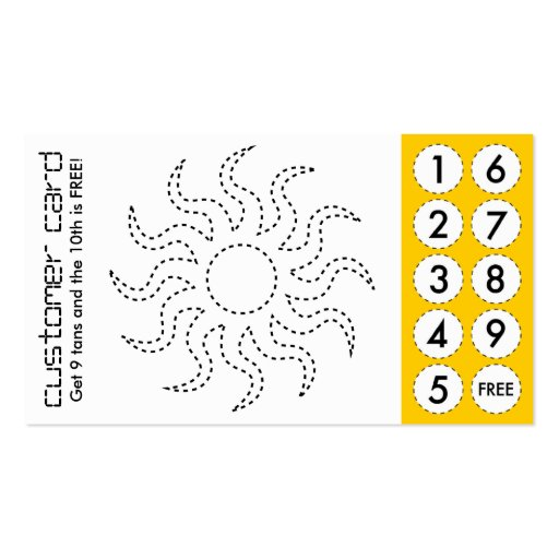 tanning salon cut out punch cards business card template