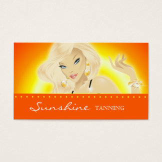Tanning Salon Pretty Blonde Woman Orange Business Card
