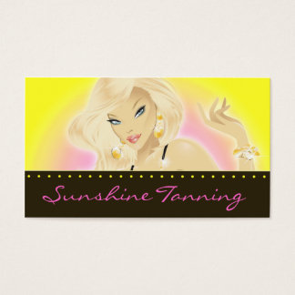 Tanning Salon Pretty Blonde Woman Yellow Business Card