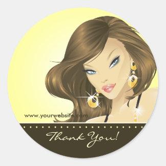 Tanning Salon Sticker Pretty Woman Yellow