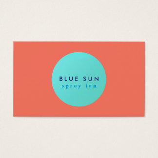 Tanning Salon Turquoise Sun Logo on Coral Business Card