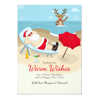 Tanning Santa Greeting Card