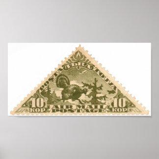 Tannu Tuva 10 Turkey Olive Triangle Stamp Folio Poster