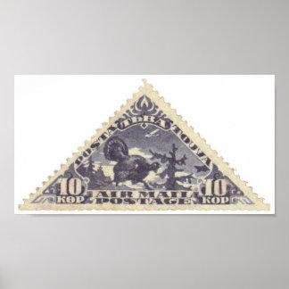 Tannu Tuva 10 Turkey Purple Triangle Stamp Folio Poster