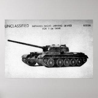 Tanque de batalla principal del soviet T-54 Póster