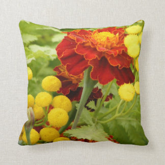 Tansy and Marigolds Throw Pillow